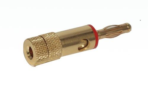 Banaanstekker voor op kabel - Rood - 4mm