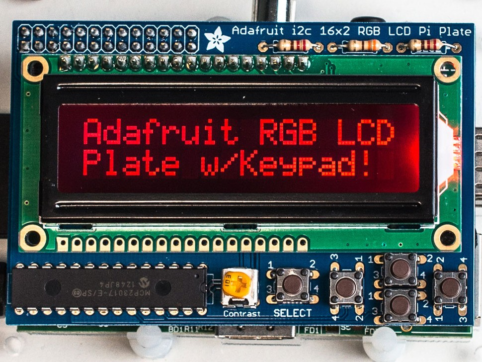 Adafruit RGB negative 16x2 LCD + keypad kit for Raspberry Pi