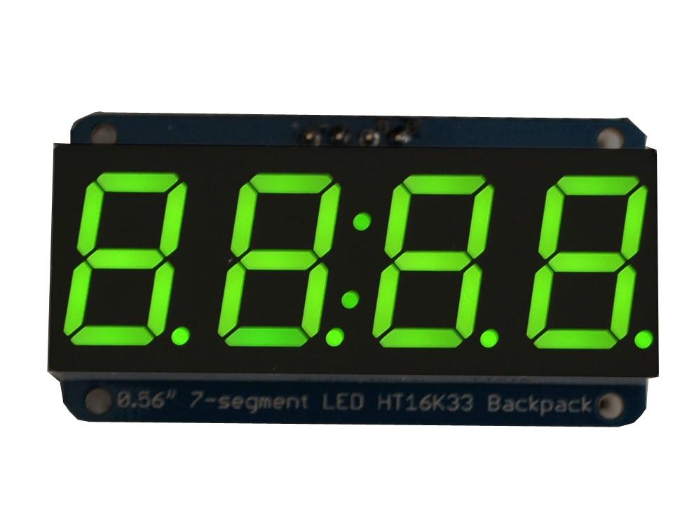 "Adafruit 0.56"" 4-digit 7-segm. Display w/I2C Backpack - Green"