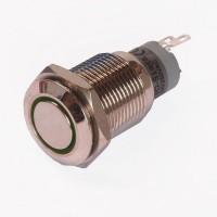 Enkelpolige drukknop ON-ON 1A/24VDC 0,5A/230VAC groen