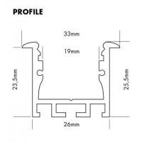 Alu profiel 26x26mm voor ledstrips tot 19mm