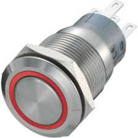 INOX Drukknop enkelpolig rood 5A/250VAC IP65 - ON-(ON)