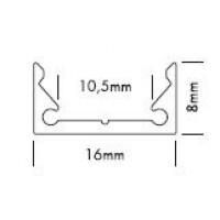 Alu Profiel 8mmx16mm - voor ledstrips tot 10mm.