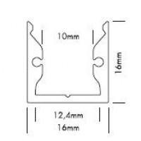 Alu Profiel 16x16mm voor ledstrips tot 10mm