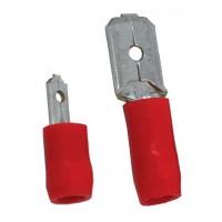 Opschuifcontact mannelijk 6,3x0,8mm Rood - 10 stuks