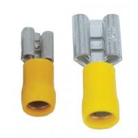 Opschuifcontact vrouwelijk 6,3x0,8mm Geel - 10 stuks