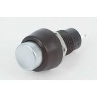 DS-451 Drukknop zilver / zwart ON-OFF 3A - 125V / 1A - 250V