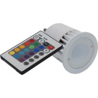 Ledlamp GU10 1x5W RGB 230V - met afstandsbediening